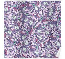 Purple floral abstract pattern Poster