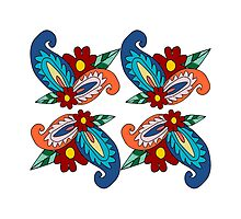 Colorful Paisley Print On White by semas