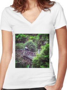 lonely man Women's Fitted V-Neck T-Shirt