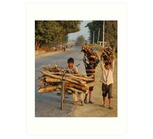 Heavy loads and young faces, Nepal Art Print