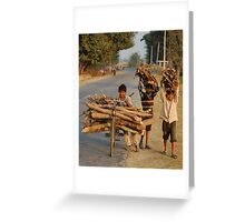 Heavy loads and young faces, Nepal Greeting Card