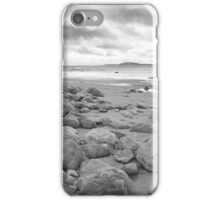 stone wall shelter on a beautiful beach in black and white iPhone Case/Skin
