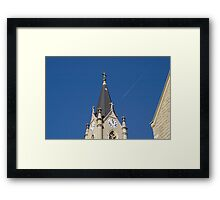 Steeple and Contrail Framed Print
