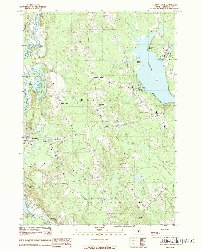 QuotMaine USGS Historical Map Madison East 102714 1989 24000