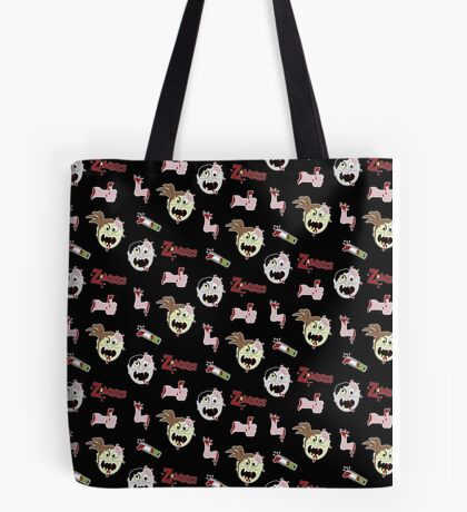 Cartoon Zombie Severed Hand Chainsaw Funny Zombies Tote Bag