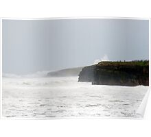 storm waves at Ballybunion cliffs Poster