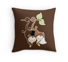 Monkey Wedding Couple Bride and Groom Throw Pillow