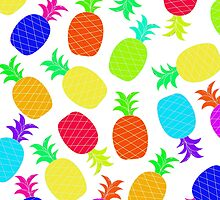 """""""Funky Fun"""" - Ananas Fruit Tropical Hot Pink Neon Fuchsia Fluorescent Orange Green Teal Purple Ultraviolet Yellow Lime Cool Super Fantastic Silly Cute Funny Orange Blue Green by CanisPicta"""