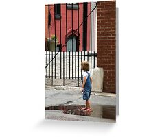 NY Puddle Girl Greeting Card