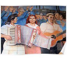 East German Socialist Mural, Berlin Poster