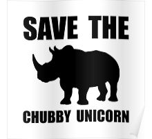 Chubby Unicorn Rhino Poster