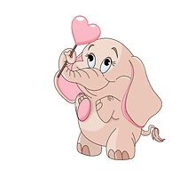 Pink Cartoon Elephant by AmazingMart
