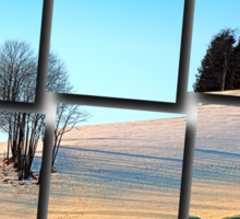 Hay bales in winter wonderland | landscape photography Sticker