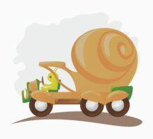 Orange snail car in cartoon style. by -ashetana-