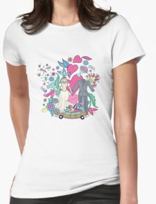 Hand drawn on the wedding elements.  Womens Fitted T-Shirt