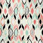 Patchwork Pattern in Coral, Mint, Black & White by micklyn