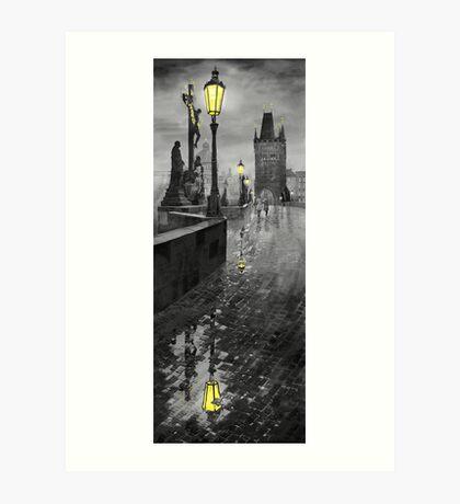 BW Prague Charles Bridge 01 Art Print