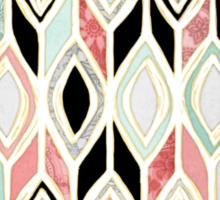 Patchwork Pattern in Coral, Mint, Black & White Sticker