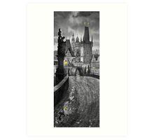 BW Prague Charles Bridge 03 Art Print