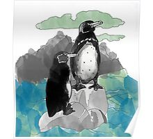 Penguins Watercolored Poster