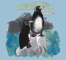 Penguins Watercolored Baby Tee