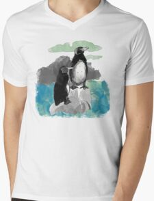 Penguins Watercolored Mens V-Neck T-Shirt