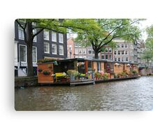 More houseboats in Amsterdam Canvas Print