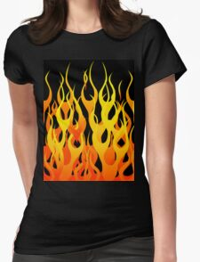 Racing Flames Womens Fitted T-Shirt
