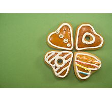 Heart shaped gingerbread cookies Photographic Print