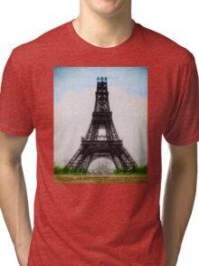 Eiffel Tower 1889 Colorized Near Completion Paris France Tri-blend T-Shirt