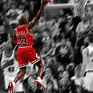 Michael Jordan flying toward the hoop by Jeff Hathaway