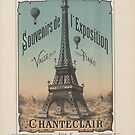 Eiffel Tower 1889 Exposition Poster Paris, France by T-ShirtsGifts