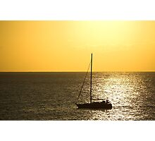 Sunset and a Boat  Photographic Print