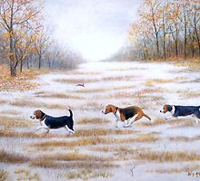Three Beagles And A Bunny by William H. RaVell III