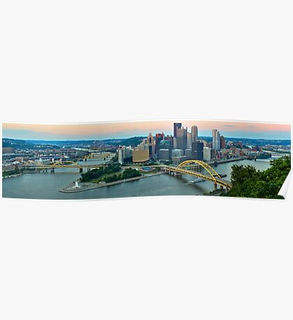 Pittsburgh Slyline Pink Sunrise Poster