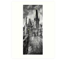 BW Prague Charles Bridge 02 Art Print