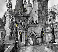 BW Prague Charles Bridge 02 by Yuriy Shevchuk