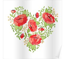 Rose Heart watercolor Poster