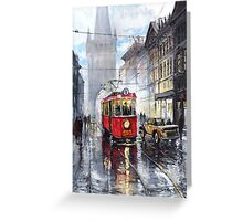 Prague Old Tram 06 Greeting Card
