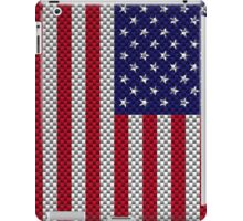 US Flag on Carbon Fiber Style Print iPad Case/Skin