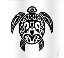 Sea Turtle Tribal Tattoo Poster