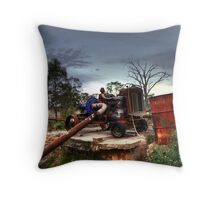 Old Tractor Pump Throw Pillow