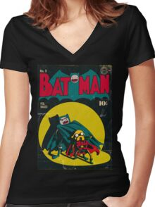 Batman and Robin/Adventure time Mashup Women's Fitted V-Neck T-Shirt