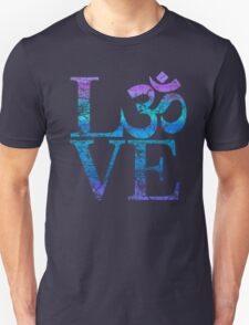 OM LOVE Spiritual Symbol in Distressed Style T-Shirt