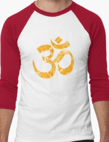 OM Yoga Spiritual Symbol in Distressed Style Men's Baseball ¾ T-Shirt