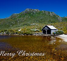 The Boathouse, Dove Lake, Merry Christmas by Steven Weeks
