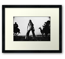 Biba Outfit Photographed On The Sussex Downs Framed Print