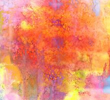 PASTEL IMAGININGS 1 Colorful Rainbow Abstract Watercolor Painting Textural Bold Summer Design Fine Art by EbiEmporium