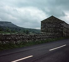 Stone farm buildings and fences in dales Cumbria England 198406010005m by Fred Mitchell