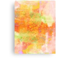 PASTEL IMAGININGS 3 Girly Chic Rainbow Abstract Watercolor Painting Colorful Textural Spring Peach Pink Yellow Green Fine Art Canvas Print